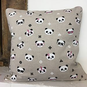Linen Look Cushion Cover - Panda Party
