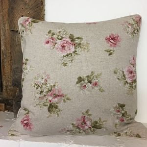 Linen Look Cushion Cover - Roses