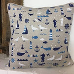 Linen Look Cushion Cover - Nautical