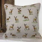Linen Look Cushion Cover - Stags