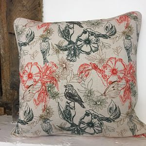 Linen Look Cushion Cover - Tropical Flowers