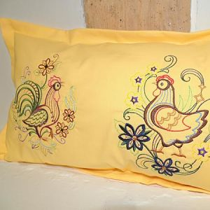 Cockerel and Hen Cushion Cover