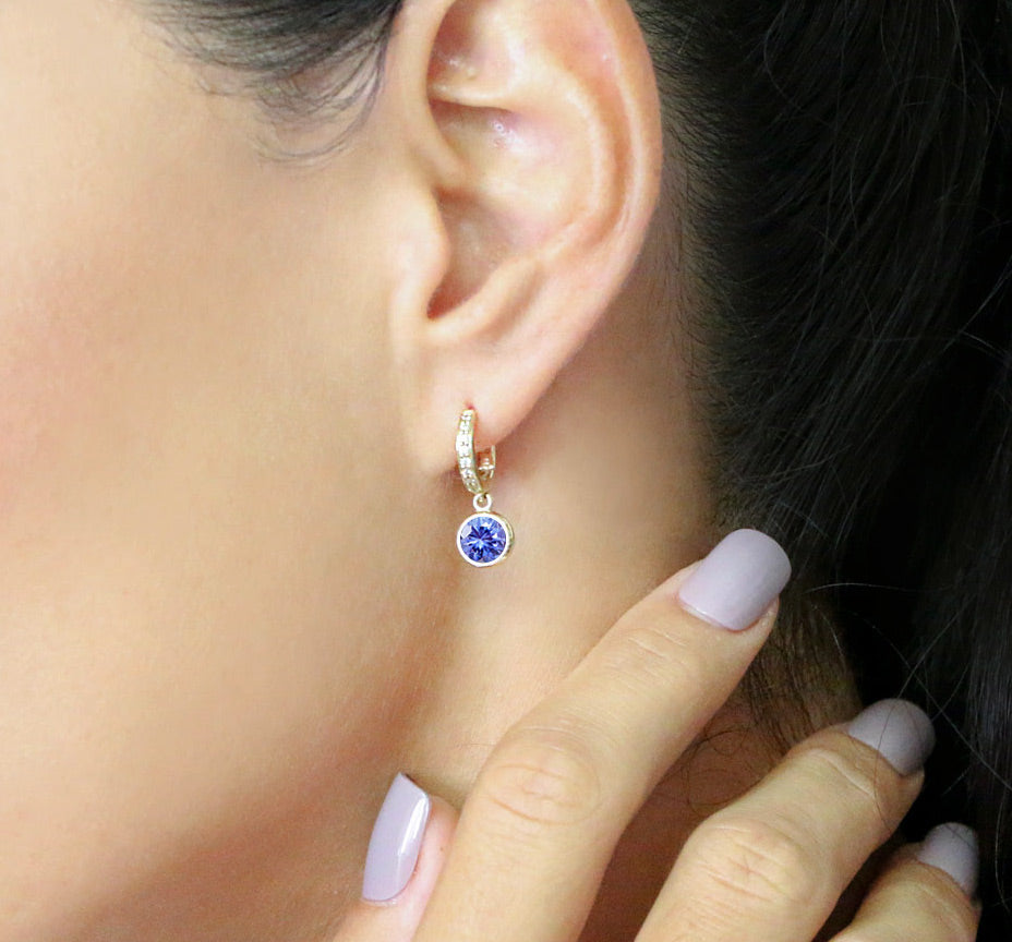 Twa Earrings - Tanzanite & Diamond