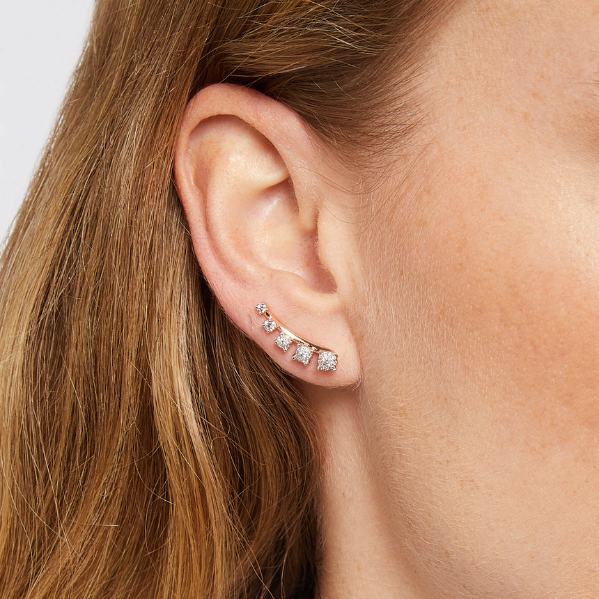 Mtondo Earrings - Diamond - Rose Gold