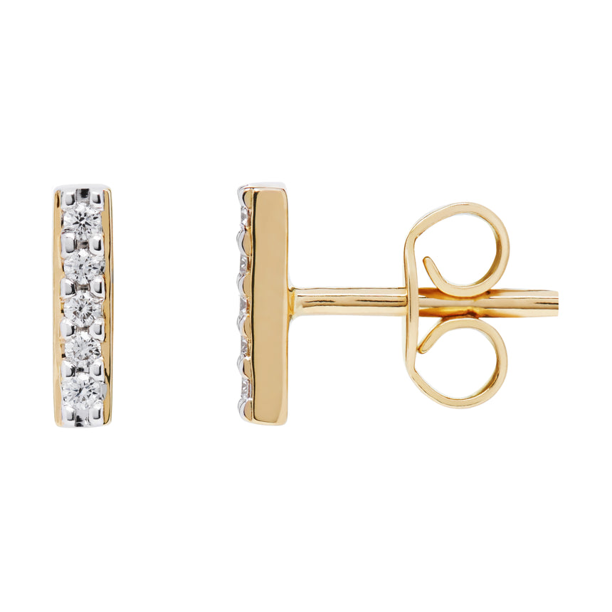 AYA Bar Studs - Yellow Gold and Diamond