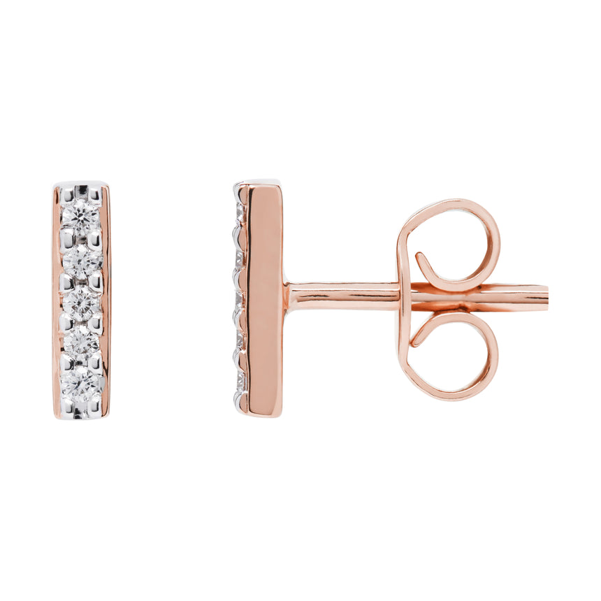 AYA Bar Studs - Rose Gold and Diamond