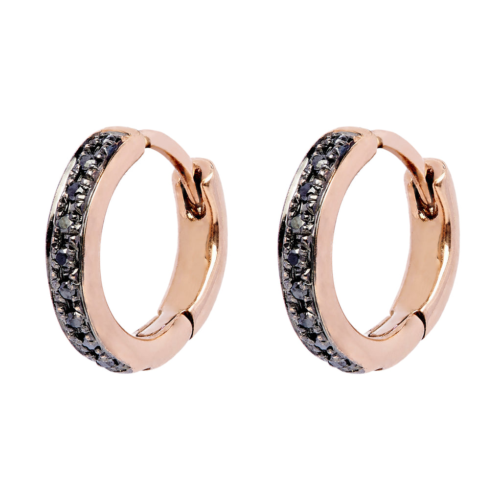 Twa Diamond Hoops - Rose Gold and Black Diamond