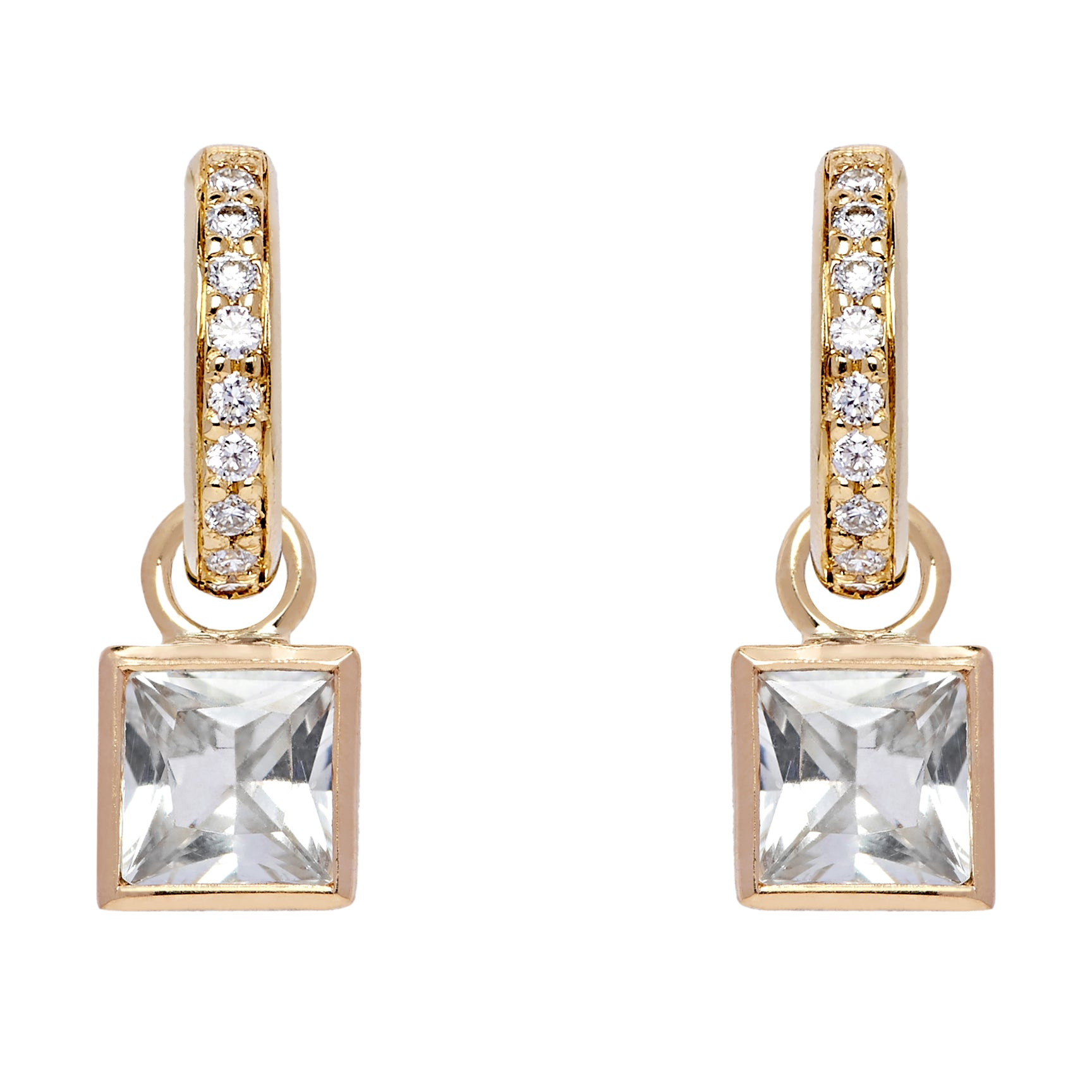 Diamond Hoops and Square Detachable Droplets - White Sapphire