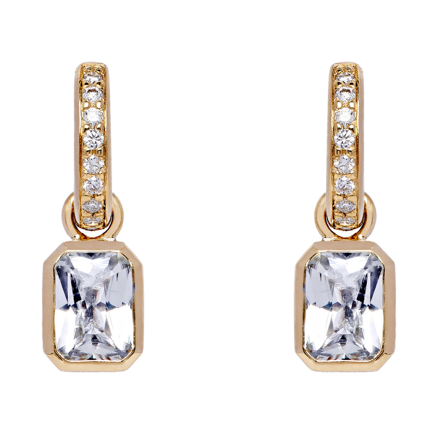 Rectangle Detachable Droplets - White Sapphire