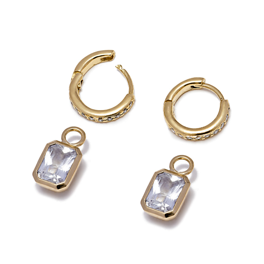 Diamond Hoops and Rectangle Detachable Droplets - White Sapphire