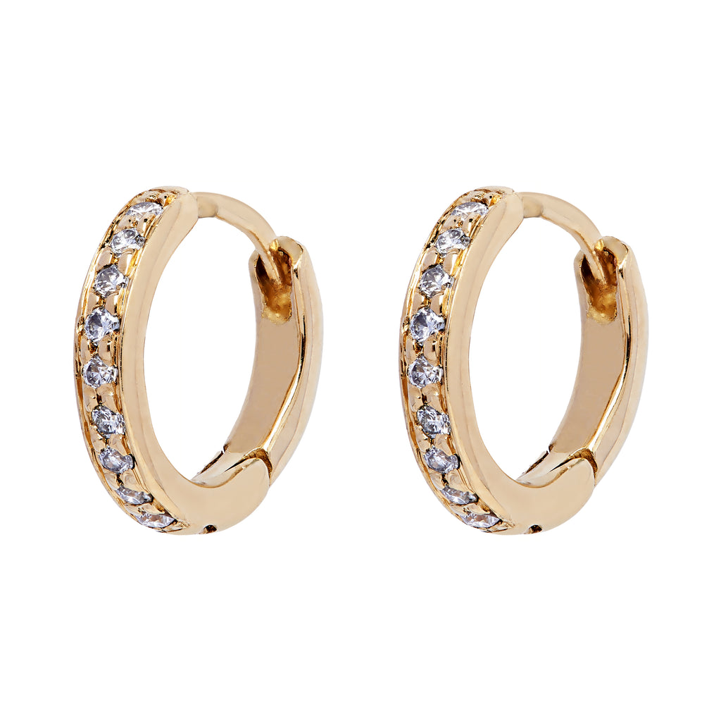Twa Diamond Hoops - Yellow Gold