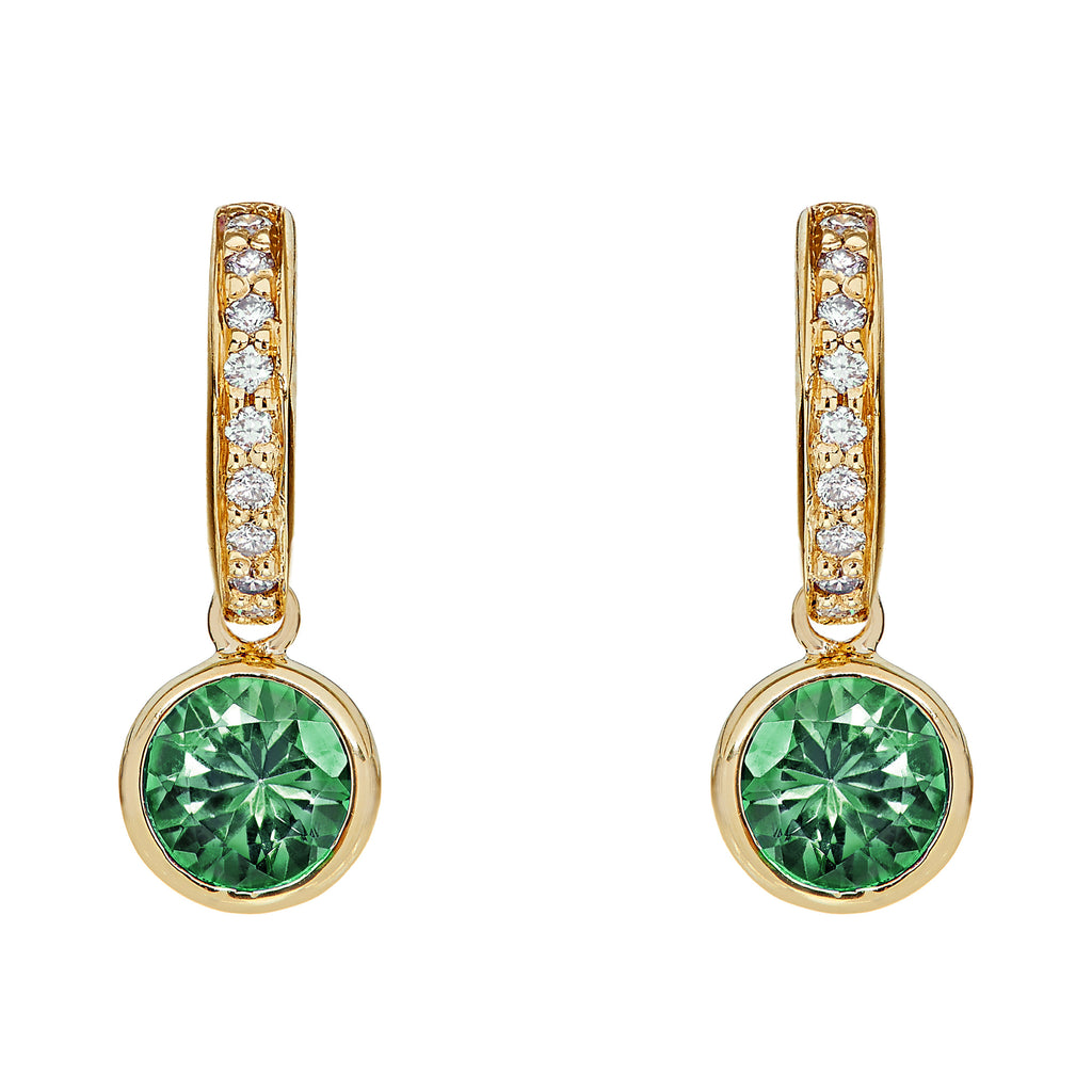 Small Twa Earrings - Emerald & Diamond