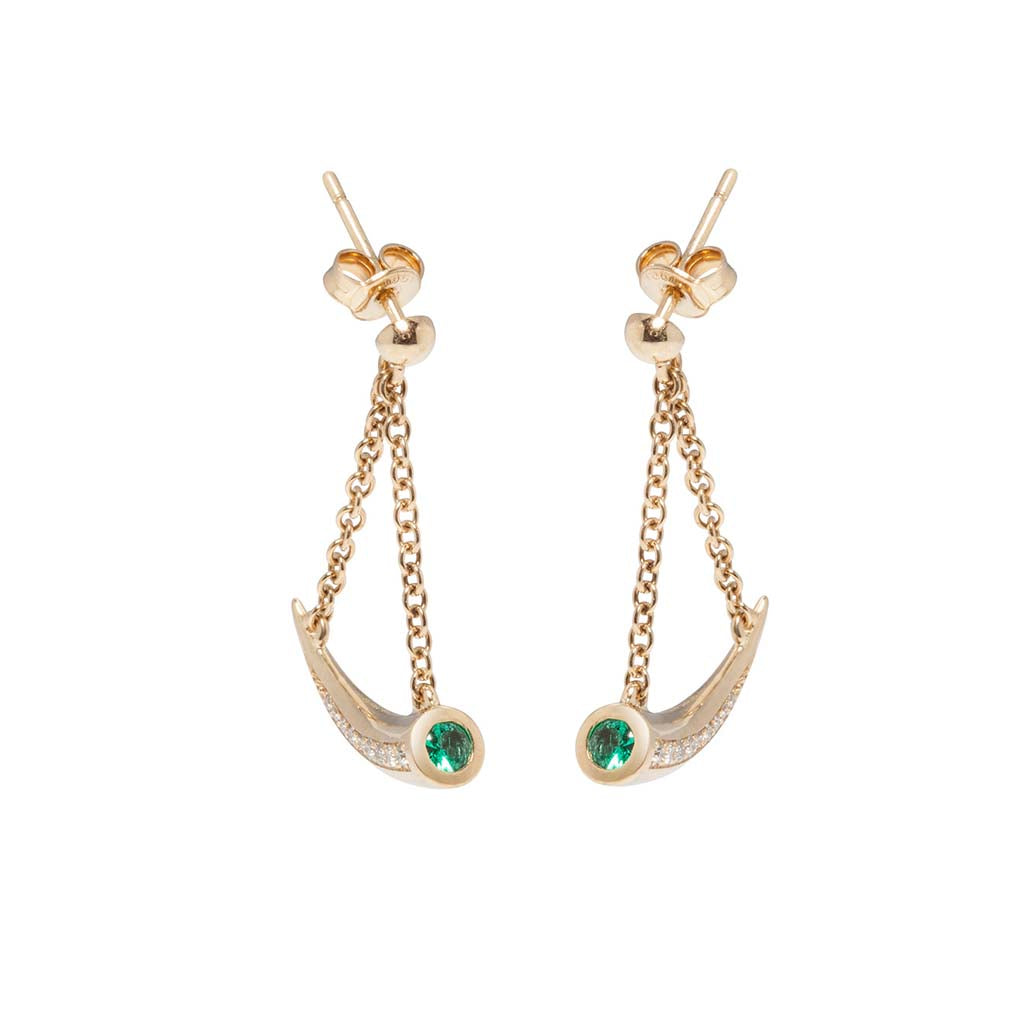 Mosi-oa-tunya Earrings - Emerald and Diamond