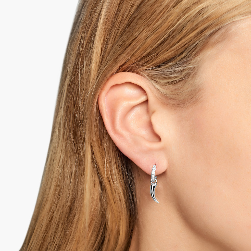 Tusk Earrings - White Gold