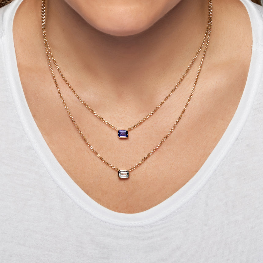 Rectangle Necklace - Tanzanite