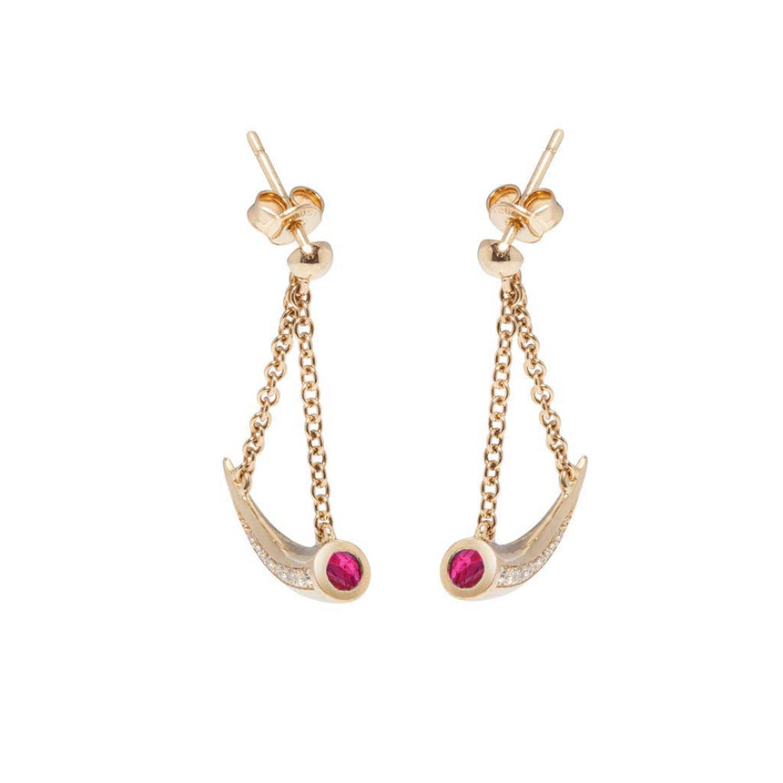 Mosi-oa-tunya Earrings - Ruby and Diamond