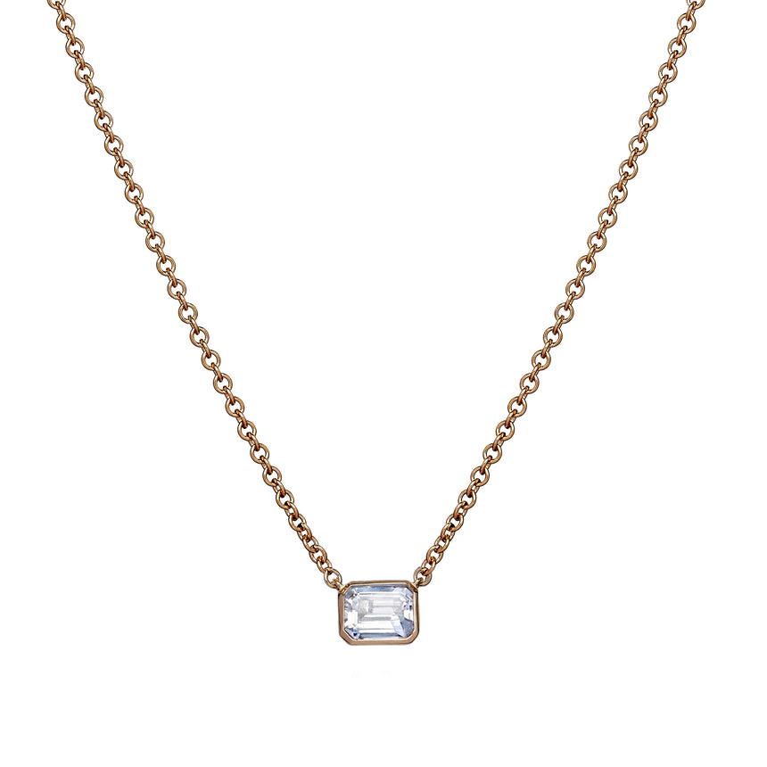 Rectangle Necklace - White Sapphire