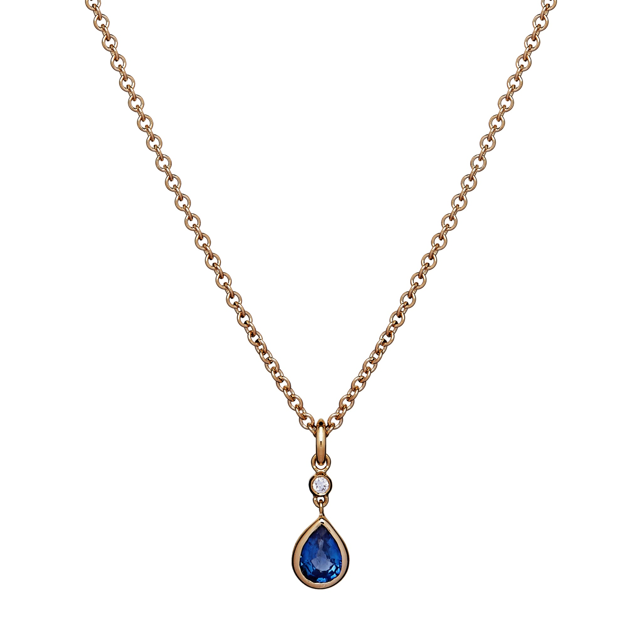 Peardrop Necklace - Sapphire and Diamond
