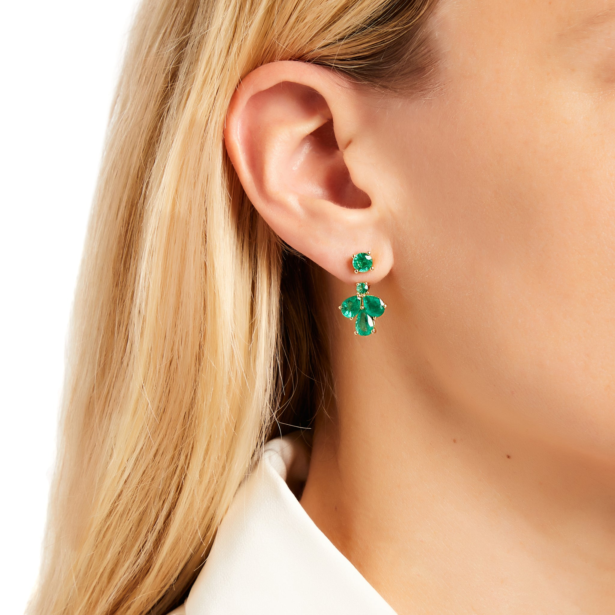 AYA x Gemfields Exclusive Emerald Ear Jacket Earrings for Walk for Giants