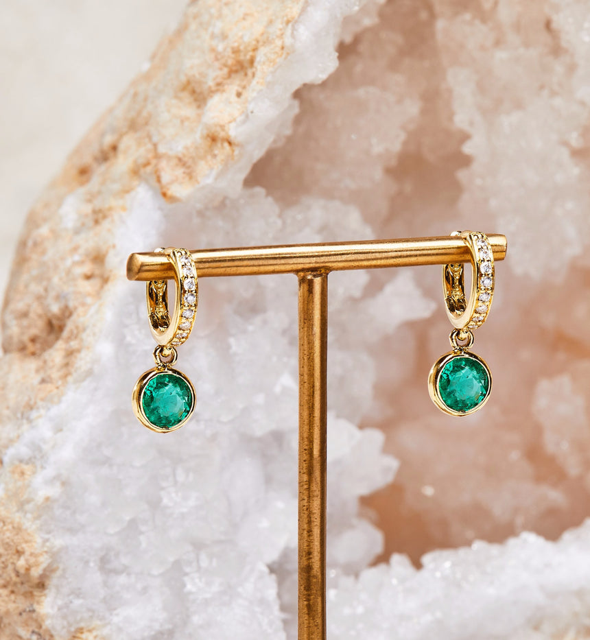 Twa Earrings - Emerald & Diamond