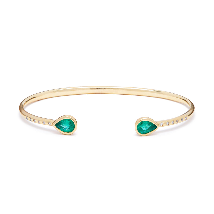 Chirundu Bangle - Emerald and Diamond