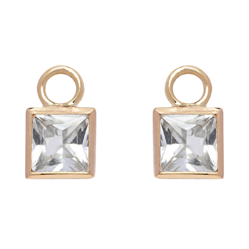 Square Detachable Droplets - White Sapphire