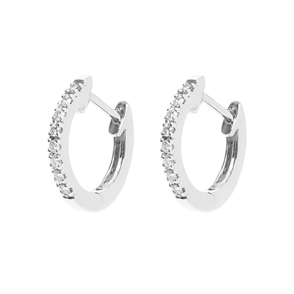 AYA Huggie Hoops - White Gold and Diamond