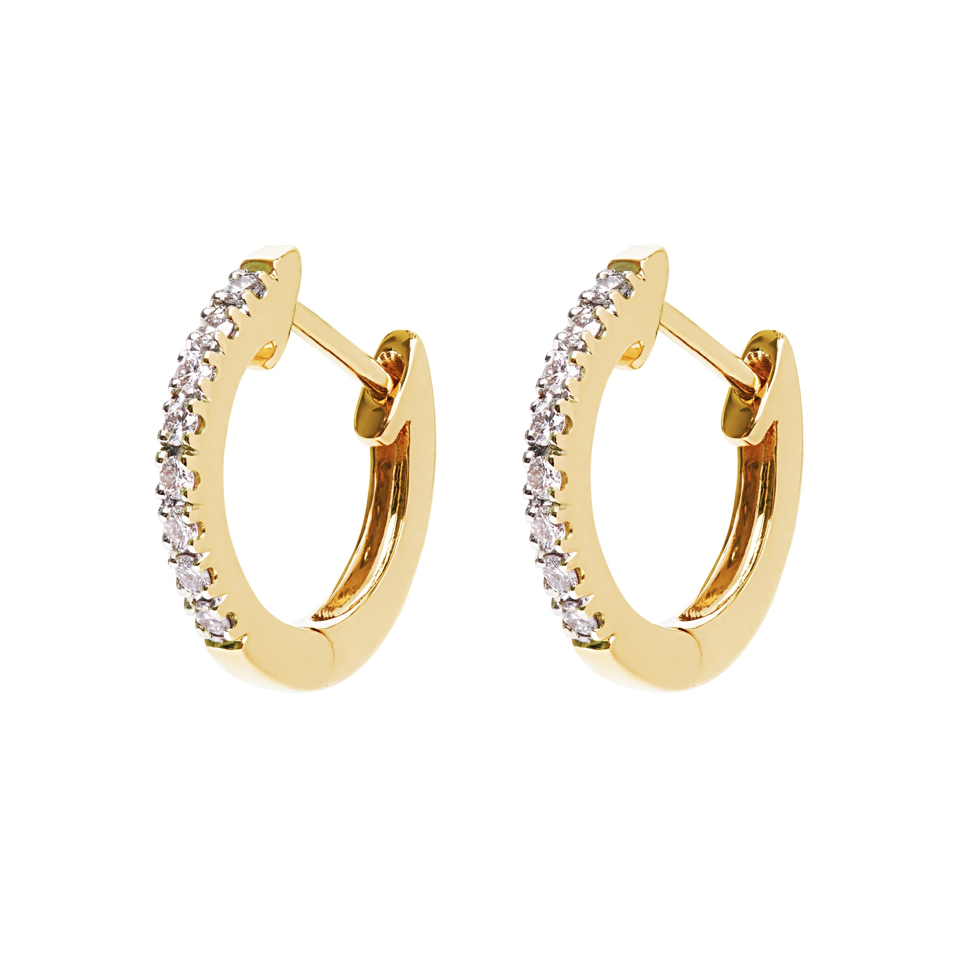 AYA Huggie Hoops - Yellow Gold and Diamond