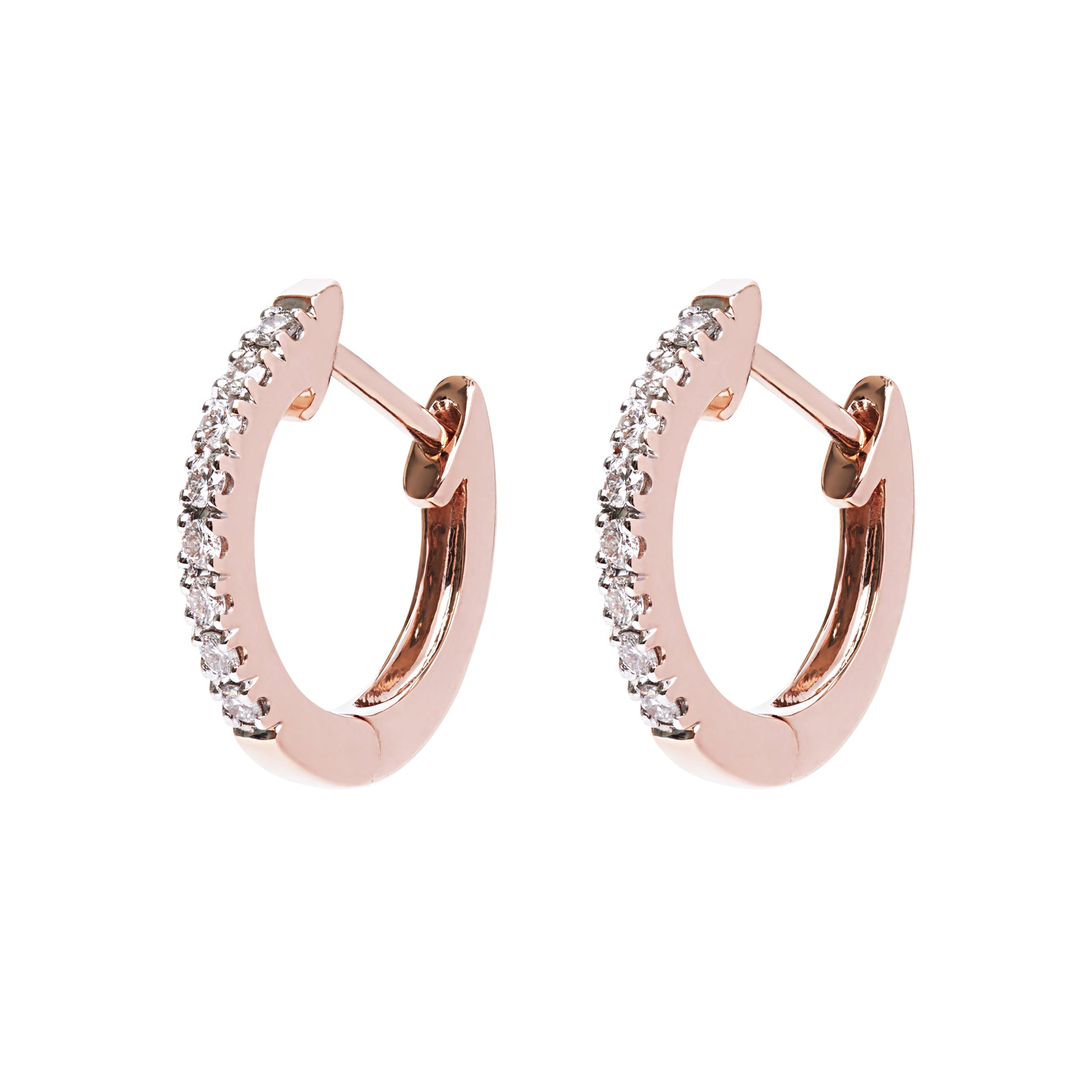 AYA Huggie Hoops - Rose Gold and Diamond