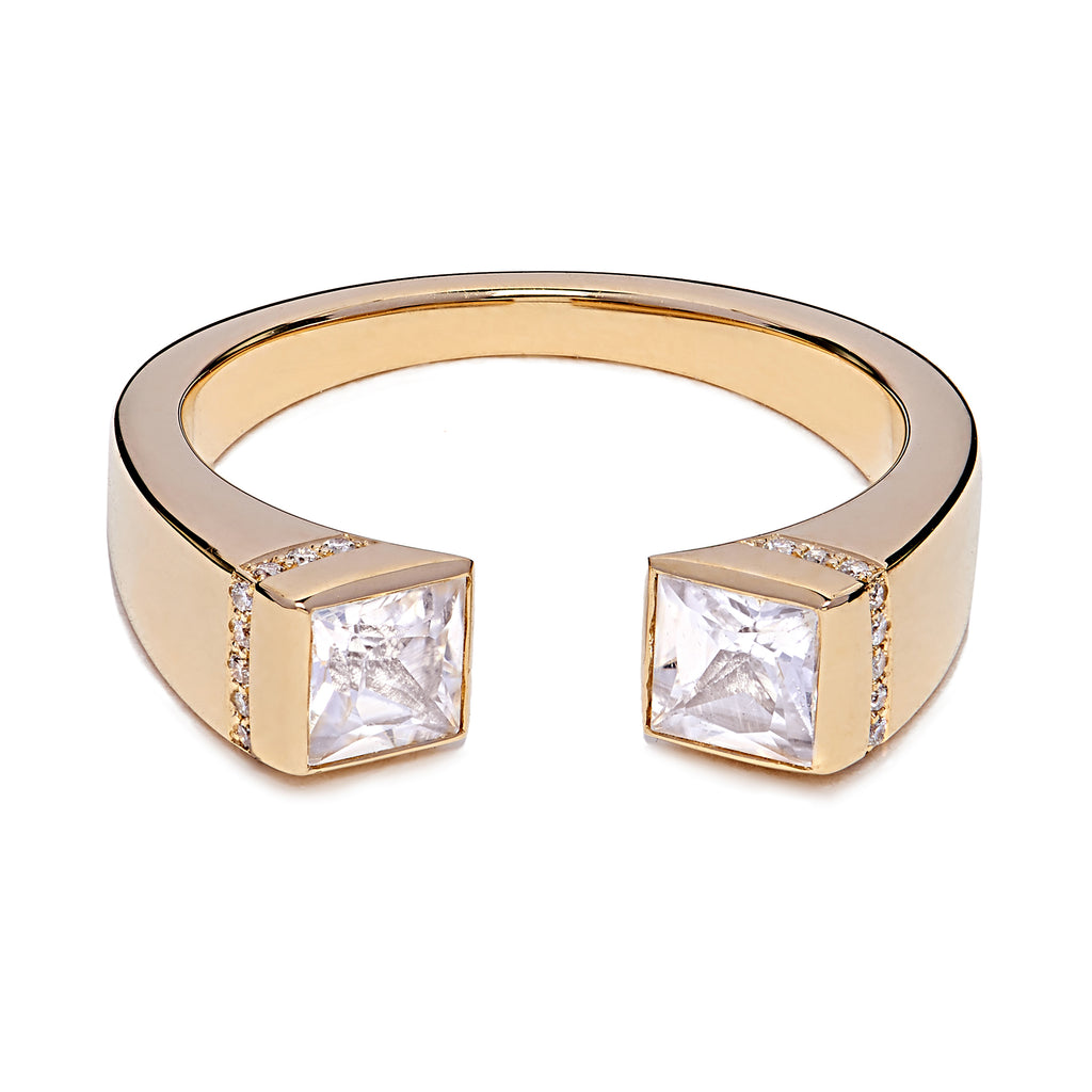Square Chete Ring - Yellow Gold & White Sapphire