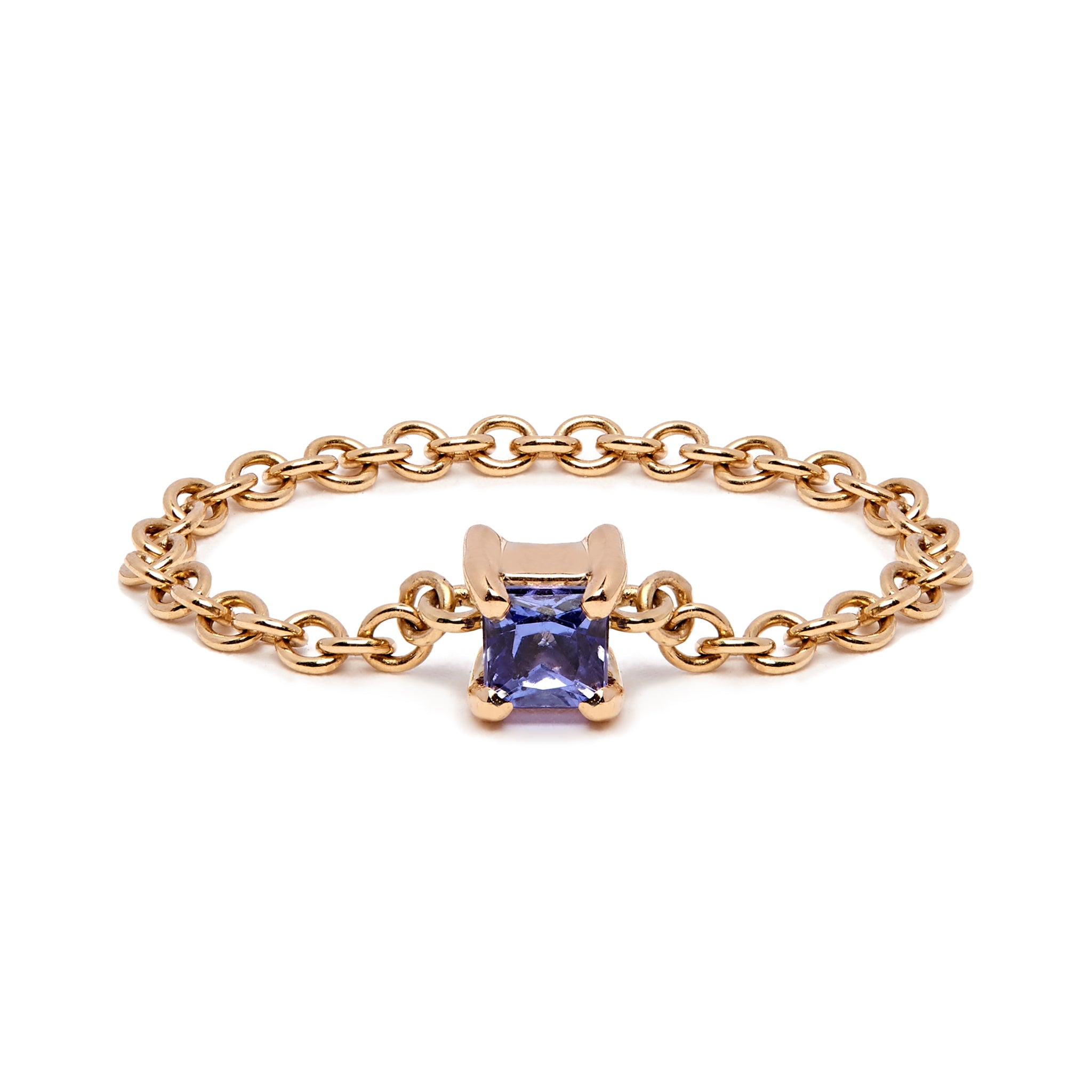 Sqaure Chain Ring - Yellow Gold & Tanzanite