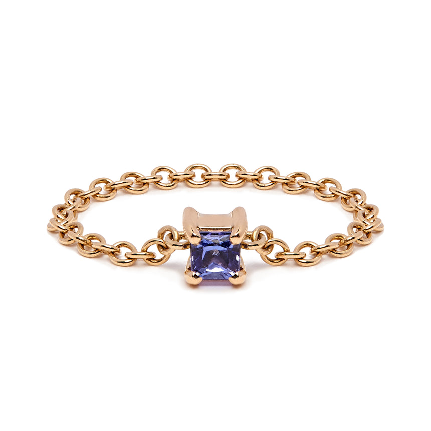 Square Chain Ring - Yellow Gold & Tanzanite