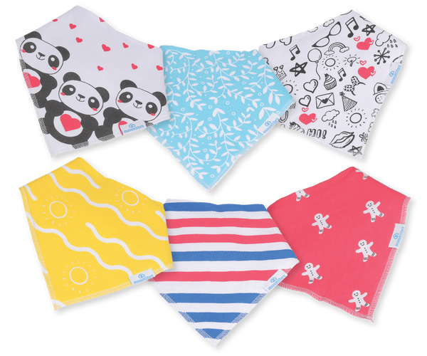 Baby Bandana Bibs for Drooling and Teething - Unisex 6 pack