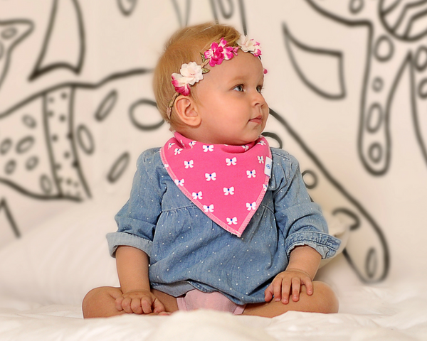 Baby Bandana Bibs for Drooling and Teething - Girls 6 pack
