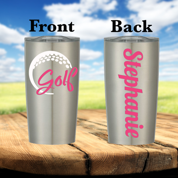 Golf 20 Ounce Personalized Stainless Steel Cup - Fancy Font