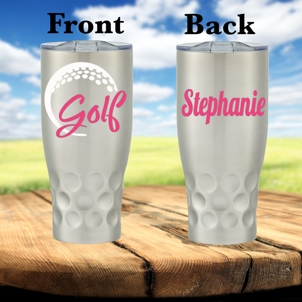 Golf 30 Ounce Personalized Stainless Steel Cup - Fancy Font
