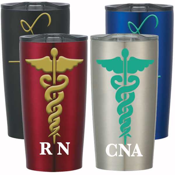Personalized Caduceus Stainless Steel Cup