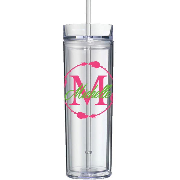 Arrow Circle w/ Initial and Name Decal on Acrylic Tumbler