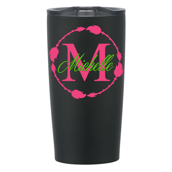 Arrow Circle w/ Initial and Name Decal on Stainless Steel Cup