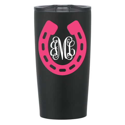 Horseshoe with Monogram Personalized Stainless Steel Cup