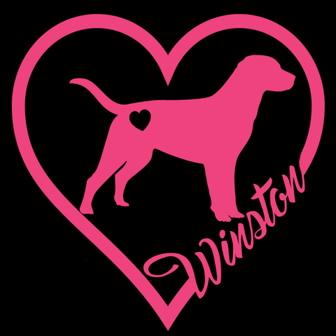 Personalized Labrador Heart Decal