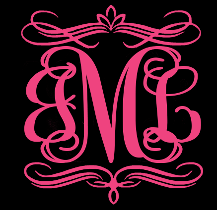 Monogram with Decorative Border Decals - Choose Your Size