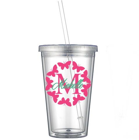 Butterfly Circle w/ Initial and Name Decal on Acrylic Tumbler