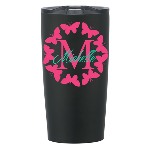 Butterfly Circle w/ Initial and Name Decal on Stainless Steel Cup
