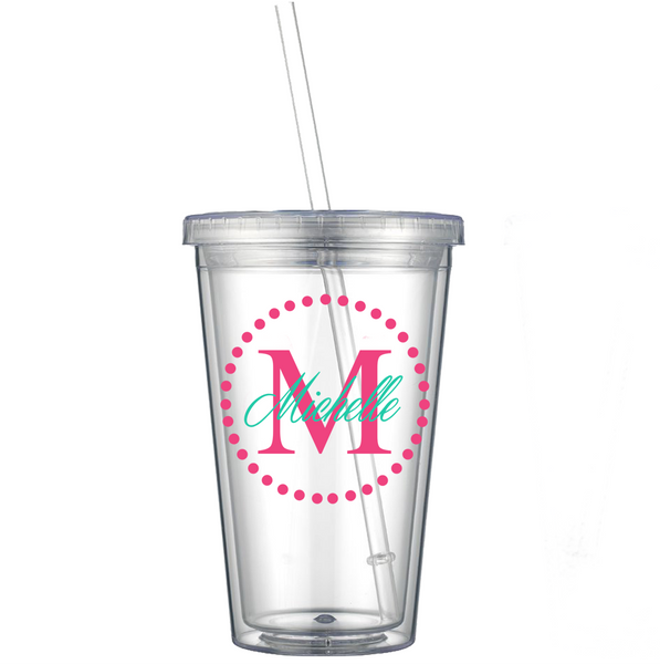 Dot Circle w/ Initial and Name Decal on Acrylic Tumbler