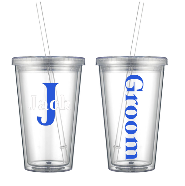Wedding Party Role w/Initial and Name Decal on Acrylic Tumbler