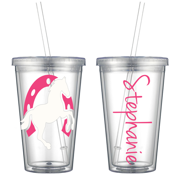 Horse and Horseshoe Personalized on Acrylic Tumbler