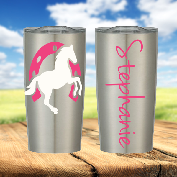 Horse and Horseshoe Personalized Stainless Steel Cup