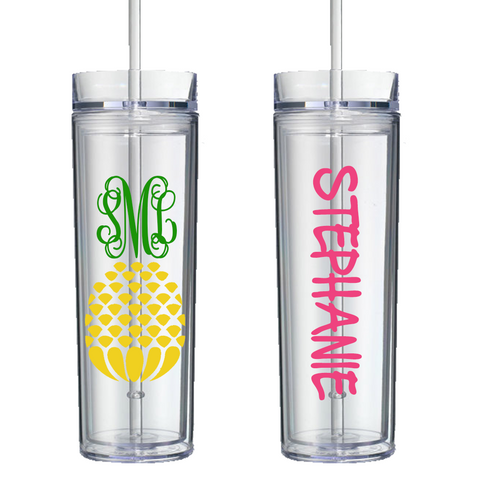 Monogrammed Pineapple Personalized Tumbler
