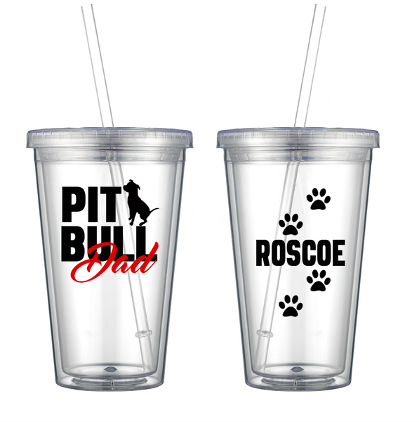 Pit Bull Dad Personalized Acrylic Tumbler